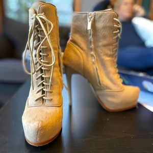 High Heeled Lace Up Booties